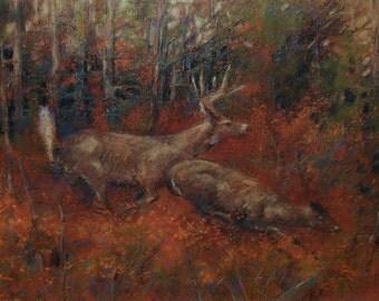Whitetail deer running through autumn foliage, woodland soft pastel drawing