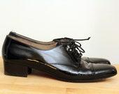 Vintage FERRAGAMO Oxfords, Black Patent Leather Oxfords, Lace up Oxfords, Salvatore Ferragamo shoes, FREE SHIPPING