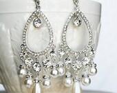 Bridal Earring Wedding Earring Rhinestone Chandelier Earrings Crystal Pearl Chandelier Earring Peacock Feather ER040LX