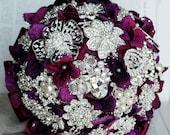 Vintage Bridal Brooch Bouquet - Pearl Rhinestone Crystal - Silver Amethyst Dark Purple One Day RUSH ORDER Available - BB019LX
