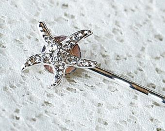 Rhinestone Bridal Hair Pin Starfish Wedding Jewelry Crystal Bridal Hairpin Clip HP033LX