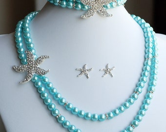 Bridal Pearl Rhinestone Necklace Bracelet Earring Crystal STARFISH Beach Wedding Jewelry Set Something Blue Teal Blue ST005LX