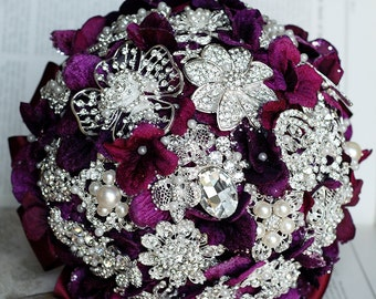 Vintage Bridal Brooch Bouquet - Pearl Rhinestone Crystal - Silver Amethyst Dark Purple One Day RUSH ORDER Available - BB019LX