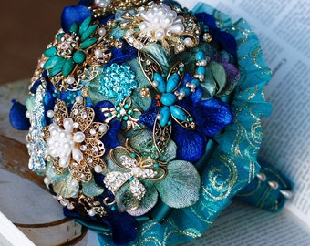 SALE Vintage Bridal Brooch Bouquet Pearl Rhinestone Crystal - Peacock Green Teal Blue Turquoise Blue Gold - BB022LX