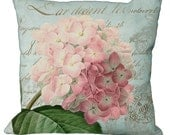Romantic Pink Hydrangea on Natural or Aqua in Choice of 14x14 16x16 18x18 20x20 22x22 24x24 26x26 inch Pillow Cover