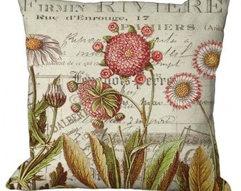 Daisy Garden on a Document Background in Choice of 14x14 16x16 18x18 20x20 22x22 24x24 26x26 inch Pillow Cover