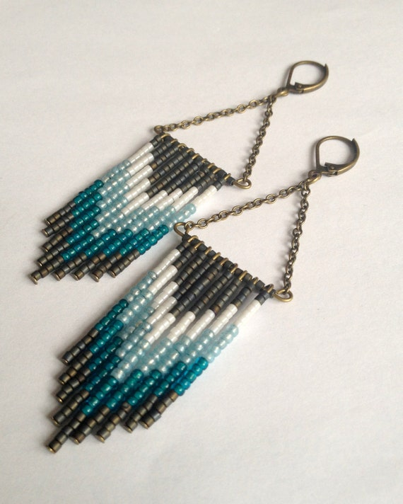 Beaded Fringe Earrings in Blue and Gray
