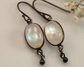 Cabochon Moonstone Earrings - Oxidized Silver Earrings - Gemstone Earrings - June Birthstone Earrings