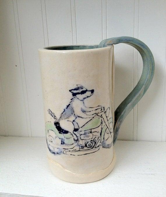 Dog on a Motorcycle Ceramic Mug