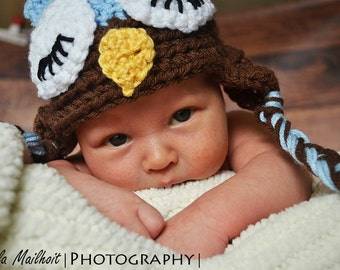 CLOSEOUT-6-12 MONTH Light Blue and Brown Sleepy Owl Hat