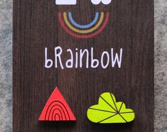 Neon Earrings - Rainbow Mountain & Cloud