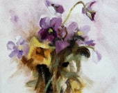 "Bouquet of Pansies Small Oil Painting One Of A Kind Purple Yellow 6"" x 6"" Home Decor"