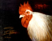 White Rooster Original Oil 11x14  Signed  Unframed Free Shipping