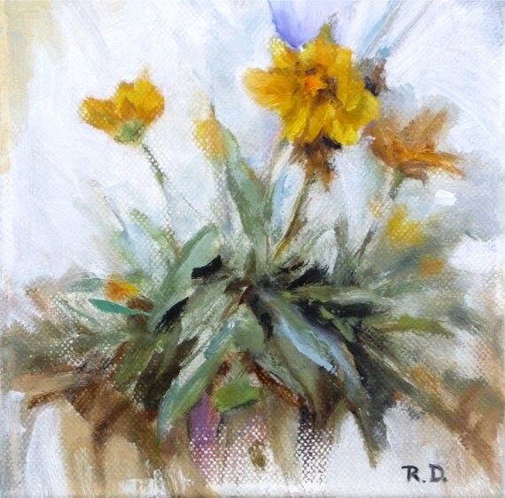 Coreopsis  Original Small Oil Painting One Of A Kind Yellow Green