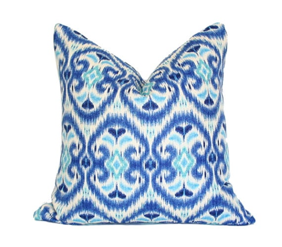 Blue and Turquoise Ikat Pillow Cover double-sided 13x19