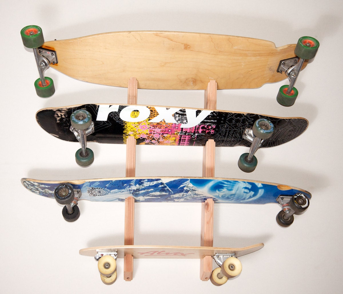 Skateboard longboard wall rack mount holds 4 boards zoom amipublicfo Image collections