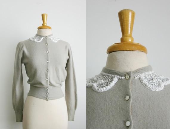 1950s beaded mock peter pan collar taupe dolman sleeve cardigan sweater, size medium