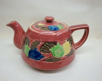 Vintage Teapot with Tulips, Raspberry Pink Ceramic