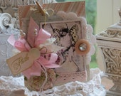 Vintage Inspired shabby chic Faith All Occasion Embellished handmade card