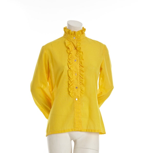 Vintage 1960s goldenrod yellow blouse with ruffle collar