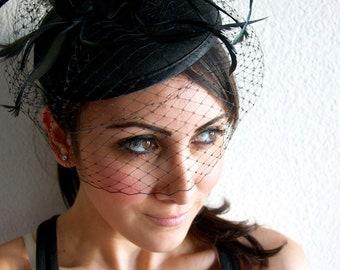 "Black Felt Fascinator - ""Juliet"" Felt Round Sinamay Fascinator Hat with Black Feathers & Black Satin Ribbon Embellishments"