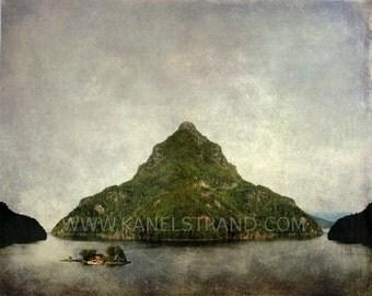 Whimsical photography, surreal Norwegian landscape, fine art print, fjord island, 8x10 photo print