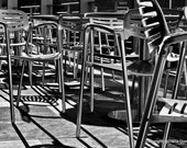 Greenville SC Photography, Silver Chairs at the Peace Center, Black and White Photos,  Fine Art Photography 8x10 Greenville South  Carolina