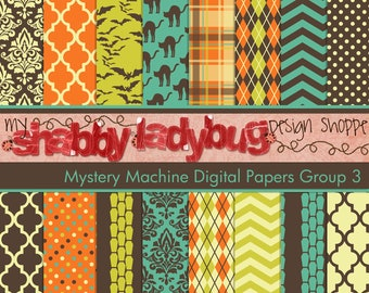 """Mystery Machine Halloween Digital Paper Collection Group 3: 16 Individual 12x12"""" 300 dpi digital scrapbook backgrounds"""