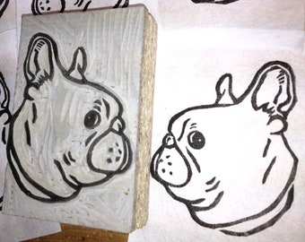 """French Bulldog Stamp - Hand Carved Linoleum 2"""" x 3""""- Made to Order"""