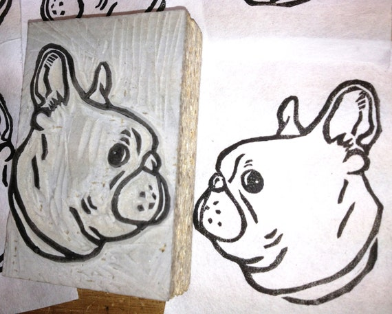 Items similar to french bulldog stamp hand carved
