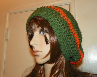 Cloche  Slouch Hat Green with Orange Strips Autumn Colors Hand Crocht