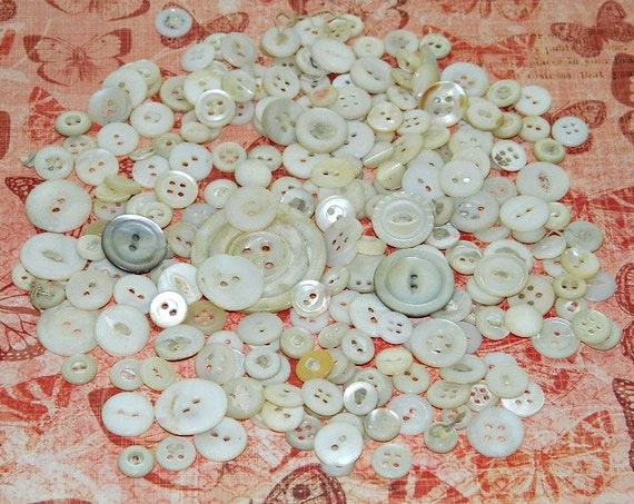 Mother of Pearl Vintage Shell Buttons - 2 ounces random selcetion -