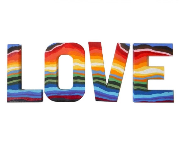 Hand Painted Rainbow Love Letters By Preciousbeast On Etsy