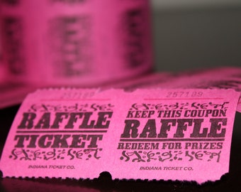 50 Pink Carnival Raffle Tickets (printed)