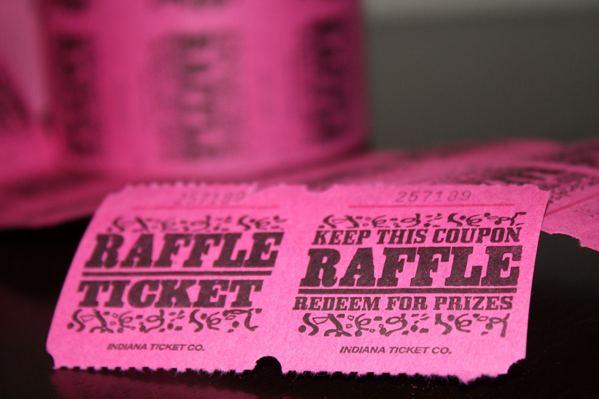 50 pink carnival raffle tickets printed