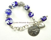 Silver Bracelet of Blue & White Lampwork Beads with Heart Charm