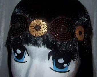 Lovely  Sequins, Bohemian Style Headband, Boho Headband, Hippie Headband, Gypsy Headband, , Elastic Headband.