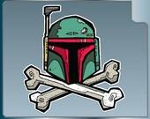 Boba Fett Helmet and Crossbones vinyl decal Star Wars Sticker