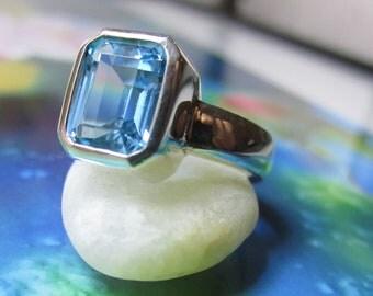 8mm x 10mm Sterling Silver Bezel Set Blue Topaz Ring - Octagon Emerald Cut - Ready to Ship 7