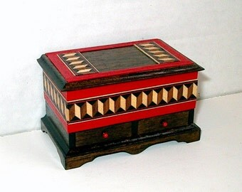 Blanket Chest, Inlay Trim, Folk Art Chest, Dollhouse Miniature 1/12 scale, Hand Made in the USA