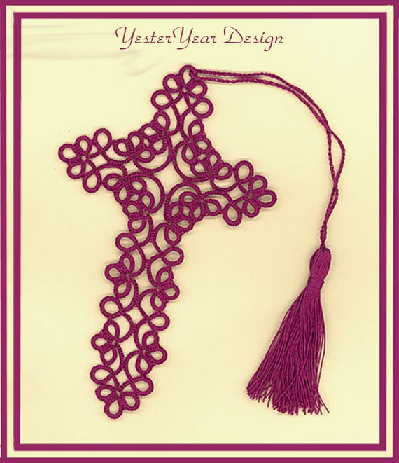 Tatted Lace Bookmark - Plum Cross - Mary Konior Design