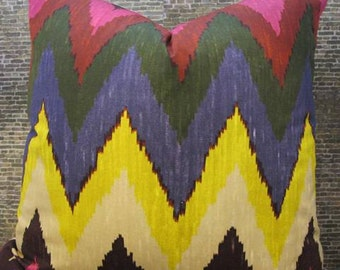 Martyn Bullard / F. Schumacher Fabric 16 x 16, 18 x 18, 20 x 20 Pillow Cover - Adras Ikat Chevron Jewel