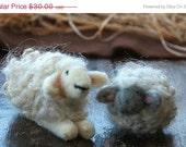 Black Friday Etsy Sale Needle Felted Sheep Nativity Set - Waldorf Inspired- Made to Order