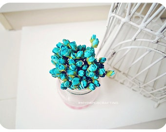 Mulberry paper tiny blue Rose Buds flower for scrapbook, card making, wedding decoration / pack