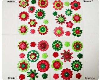 Christmas Flower felt embellishment set