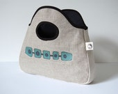 hand bag / clutch bag / printed linen / mid century abstract 'Tube Link'  design