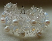 Bridal Bracelet: 50% OFF Delcate crocheted silver lace, Freshwater Pearls and Moonstone