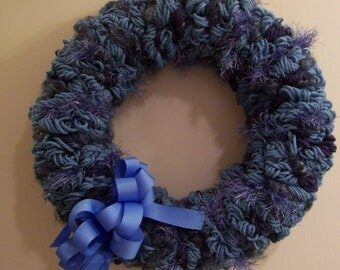 Country Blue And Navy Yarn Loop Wreath with Grosgrain Bow - FREE SHIPPING!