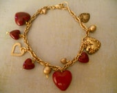 Sweet Red and Gold Heart Bracelet - Wonderful Vintage Red Hearts and Gold Hearts on Heavy Link Chain