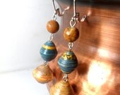 Paper Bead Earrings In Earth Tones with red creek jasper